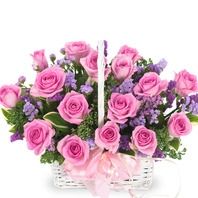 핑크장미바구니